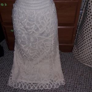 Cream colored detailed lace skirt